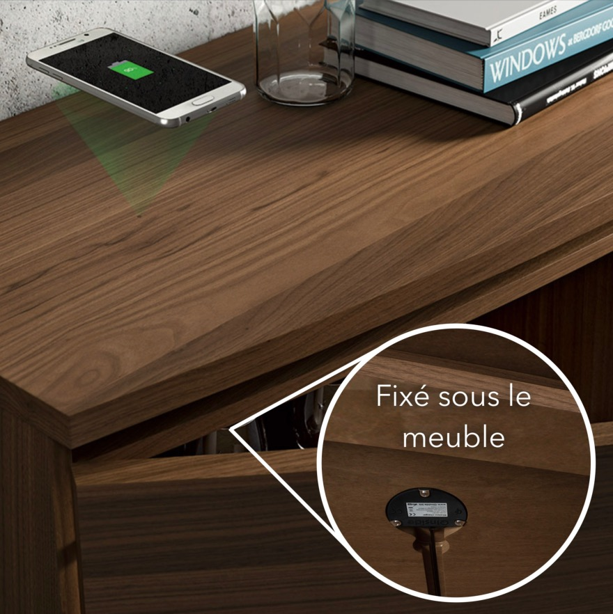 chargeur induction qi encastrable invisible. Black Bedroom Furniture Sets. Home Design Ideas