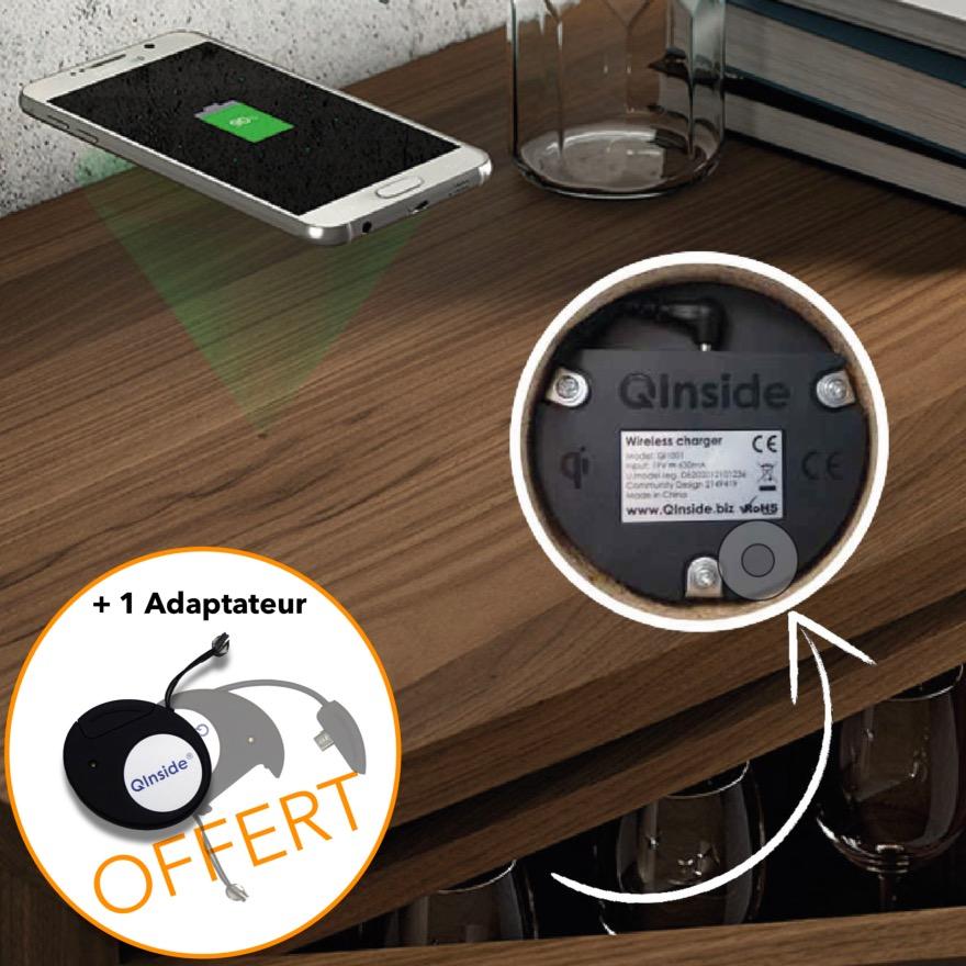 chargeur induction qi avec r cepteur pour iphone. Black Bedroom Furniture Sets. Home Design Ideas